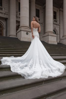 Long train wedding dress Melbourne