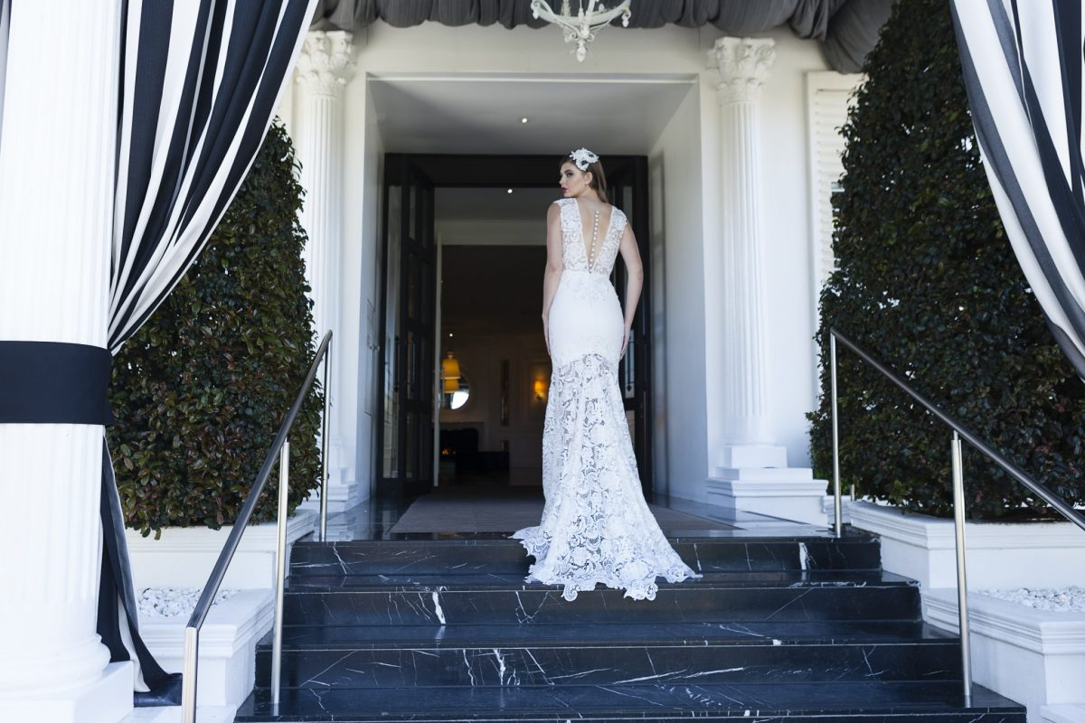 Sheer lace wedding dress Melbourne