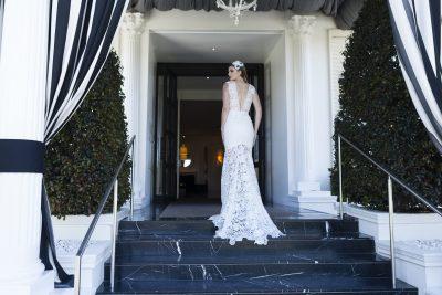 Sheer lace wedding dress Melbourne