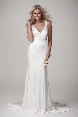 Satin draped wedding Dress