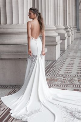 Dramatic low back wedding gown Melbourne