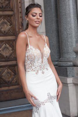 Skin tone bodice with lace applique wedding dress Melbourne