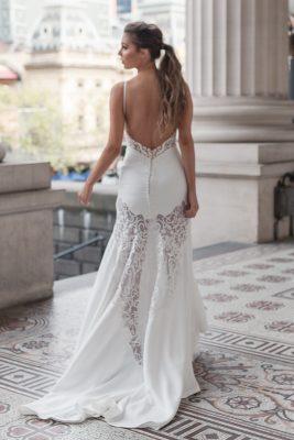 Sleek low back wedding dress Melbourne