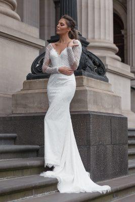 Vintage delicate fine lace wedding dress Melbourne
