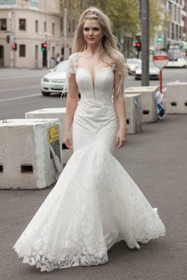 Fit and flare with lace applique wedding dress Melbourne