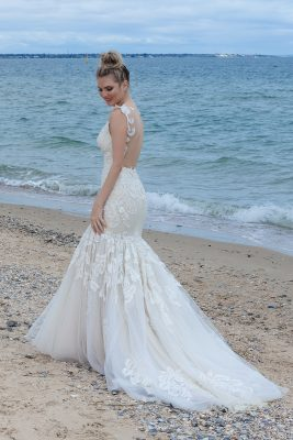 Elegant soft netted wedding Gown Melbourne