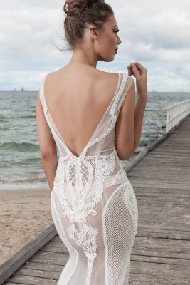 Lace and pearl wedding dress Melbourne