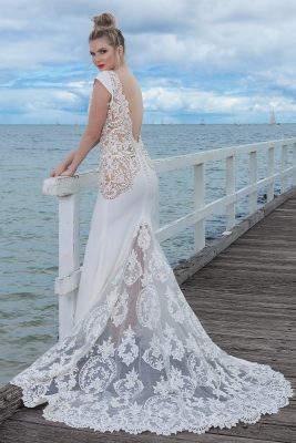 Wedding dresses Melbourne with lace train