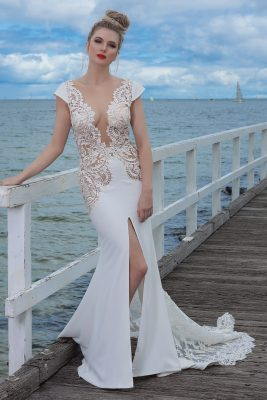 Romantic Lace backless wedding dress Melbourne