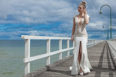 Wedding gown with front split in Melbourne