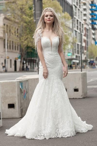 Detailed shoulder wedding Dress Melbourne