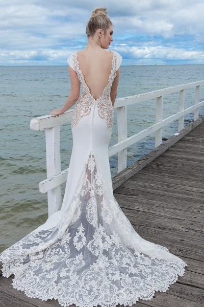 Backless Wedding Gown with sheer train Melbourne